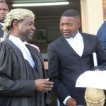 Lusaka lawyer Kelvin Bwalya Fube with  his colleague Keith Mweemba (r)  at Lusaka High Court on March 19 2018 - Picture by Tenson Mkhala