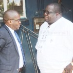 NDC leader Chishimba Kambwili with his lawyer Christorpher Mundia at Woodlands Police Station where his son was summonde by the ACC on April 25, 2018 - Picture by Tenson Mkhala