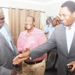 NDC consultant Chishimba Kambwili welcomes UPND leader Hakainde Hichilema and his then vice Geoffrey Mwamba when they paid a courtesy call on him in Lusaka on December 5, 2018 – Picture by Tenson Mkhala