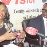 Information and Broadcasting Services Minister Dora Siliya addresses journalists in Lusaka as her permanent secretary Chanda Kasolo listens on February 6, 2019 - Picture by Tenson Mkhala