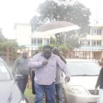 Roan PF member of parliament Chishimba Kambwili arrives at the Luanshya Magistrates' Court on February 11, 2019 - picture courtesy of NDC media team