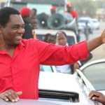 UPND leader Hakainde Hichilema flashers the Party symbol in Kafue Town shortly after addressing a rally for the Council Chairperson on March 25, 2019 - Picture by Tenson Mkhala