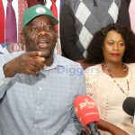 PF secretary general Davies Mwila flanked by his deputy Mumbi Phiri addresses journalists during a press briefing at the party secretariat on June 3, 2019 - Picture by Tenson Mkhala