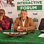 Justice Minister Given Lubinda (c) speaks during a PF interactive forum on July 14, 2019