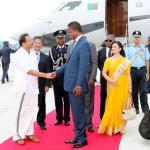 President Edgar Chagwa Lungu (centre) being welcomed by Murli Dharam (left) Indian Minister In-charge of Africa at Palam Air Force Base in New Delhi,India on Tuesday,August 20,2019 - picture by Eddie Mwanaleza