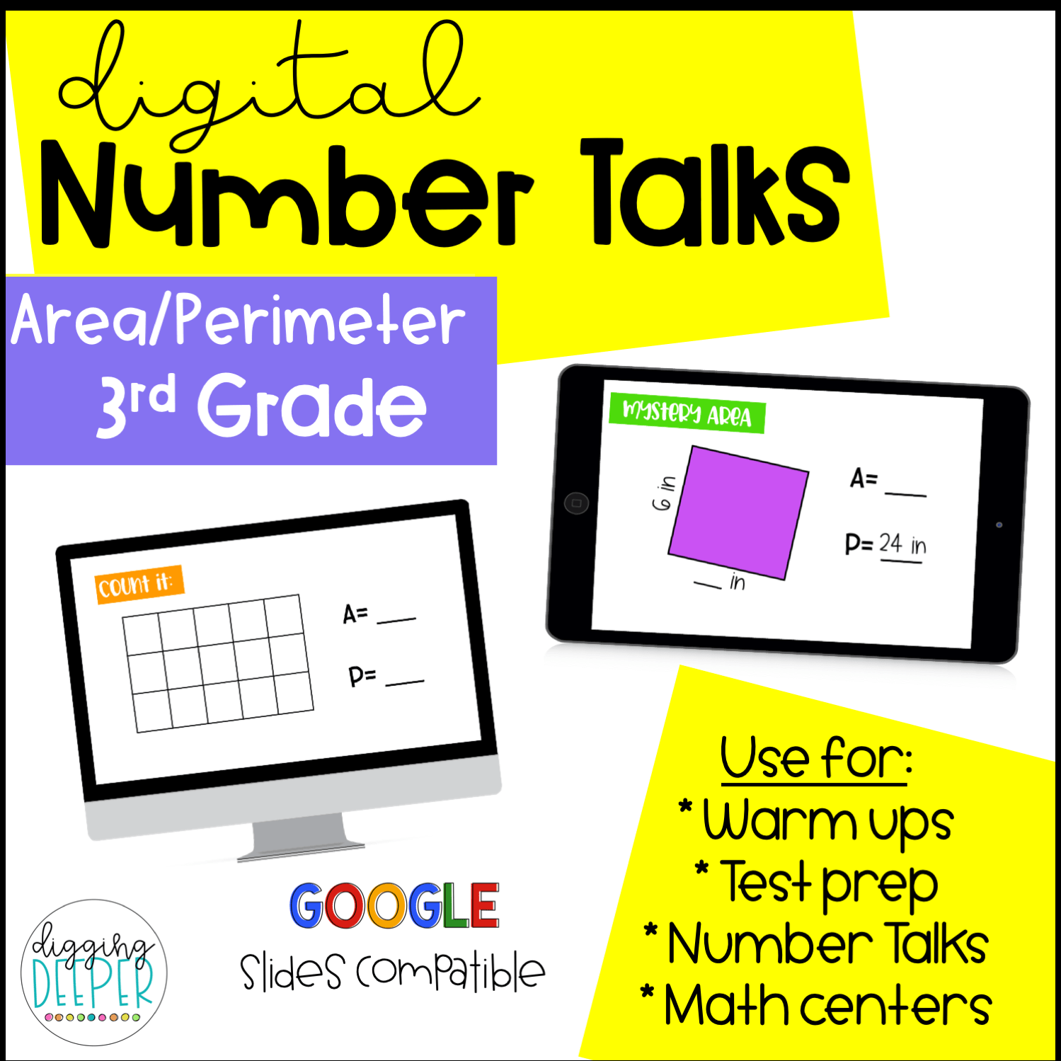Digital Number Talks 3rd Grade Area And Perimeter