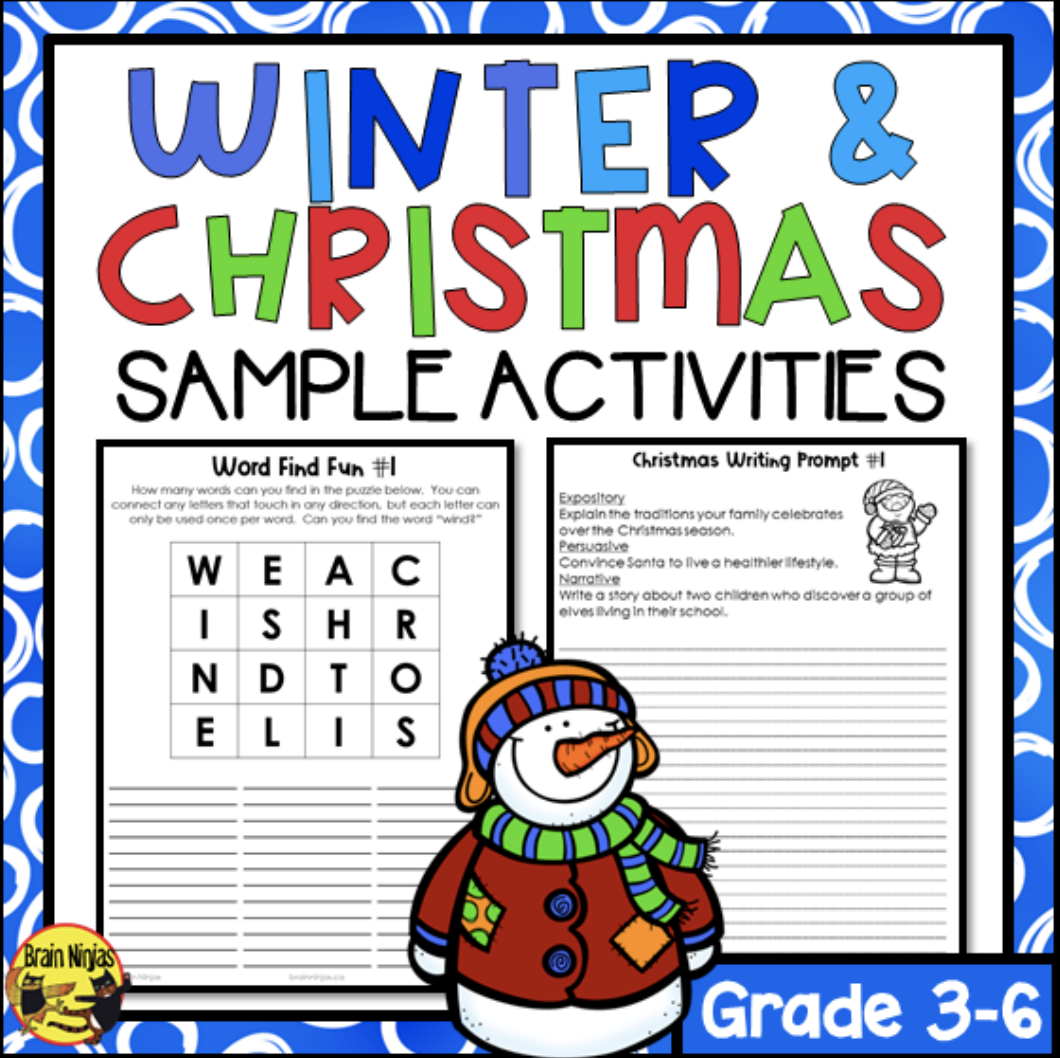 FREE Holiday Activities for Students in grades 3-5 - [ 1022 x 1024 Pixel ]