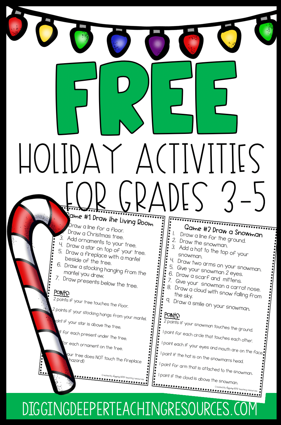 medium resolution of FREE Holiday Activities for Students in grades 3-5 -