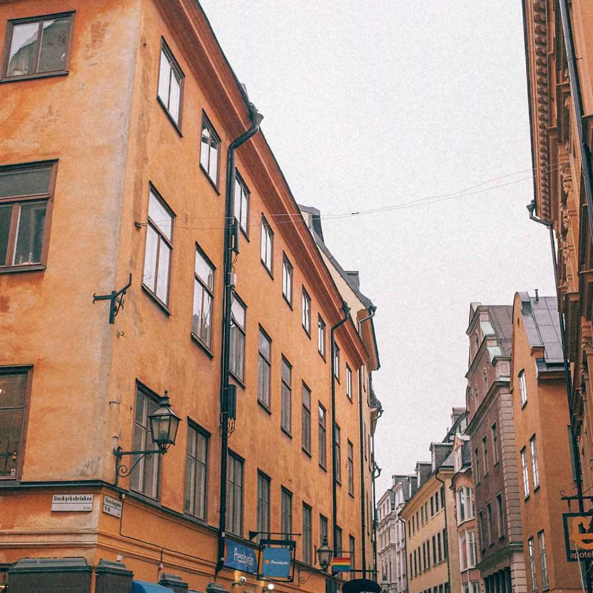 big residential buildings in old town