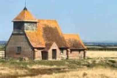 St Thomas Becket, Fairfield, Romney Marsh, Kent ac church mentioned in Dixe Willis 'Tiny Churches'.  Original image attributed to Theromney marsh.net/