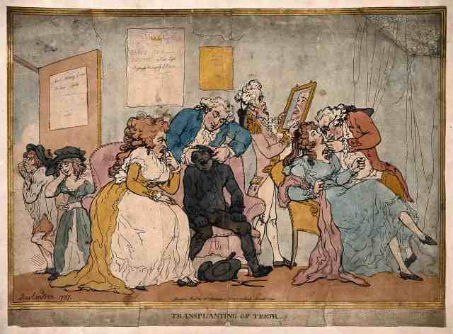 A fashionable dentist's practice: healthy teeth are being extracted from poor children to create dentures for the wealthy. Coloured etching by T. Rowlandson, 1787 via Wellcome Images