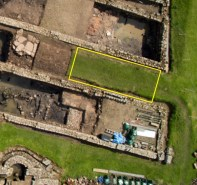 Closeup of the vicus trench (in 2015), beneath a road between two third century vicus buildings (I believe which were also used as barrack buildings during the Severan period fort). Photo also from the September excavation blog post from 2015.