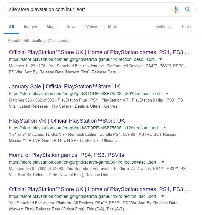 GSC - Parametri URL - Esempio di Playstation Store