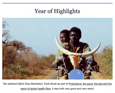 """Clip of the newsletter with headline """"Year of Highlights."""""""