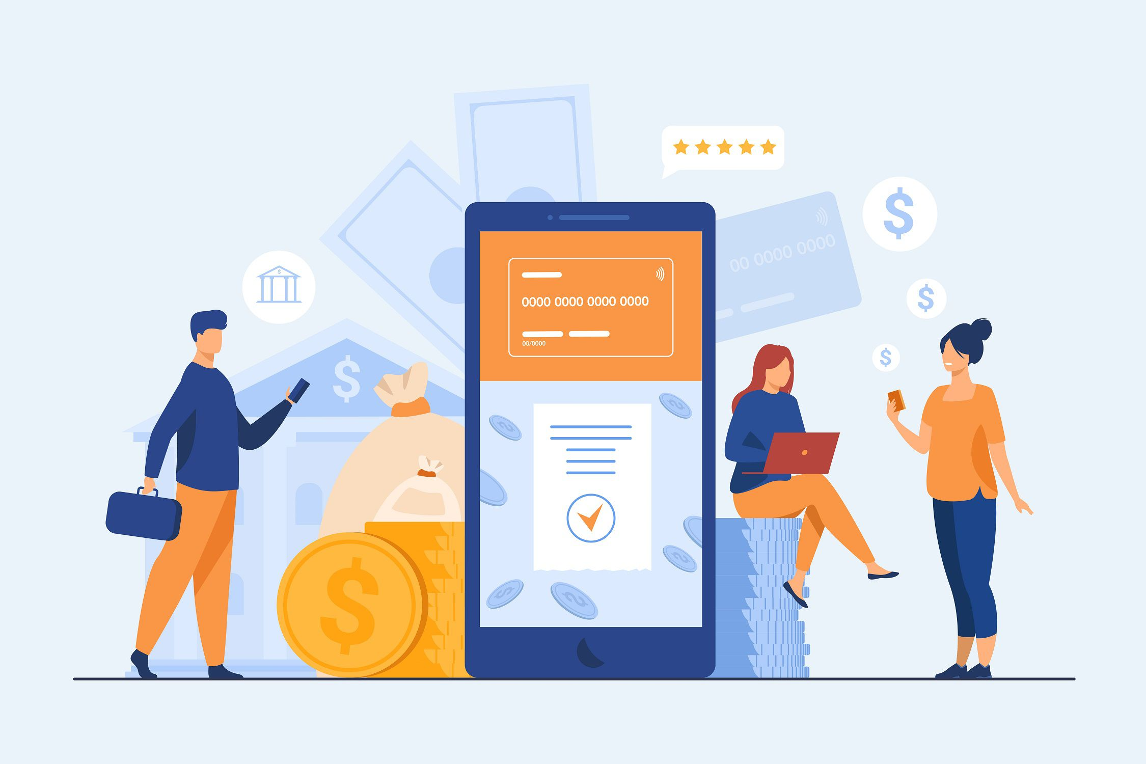 People with smartphones using mobile banking app. Man and woman with digital devices making online payment. Vector illustration for money, fintech, transaction concept