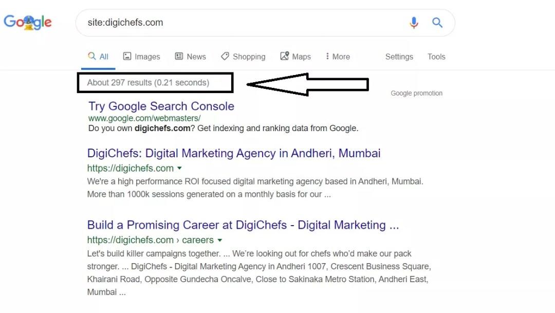 Digichefs url indexed on google