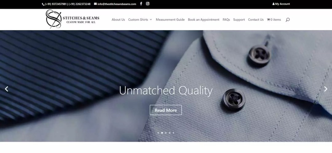 Developed an Ecommerce Website for Selling Customised Shirts Online | Stitches & Seams