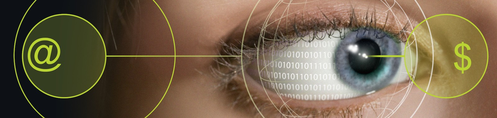 Closeup of a woman's eye with symbols and binary code