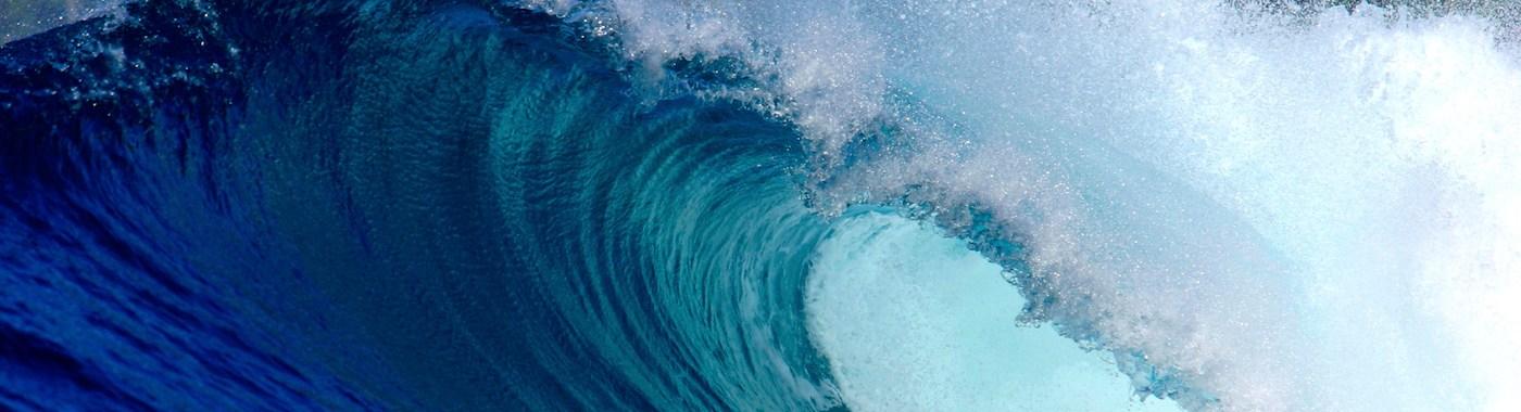 Blue ocean surfing wave Sumatra