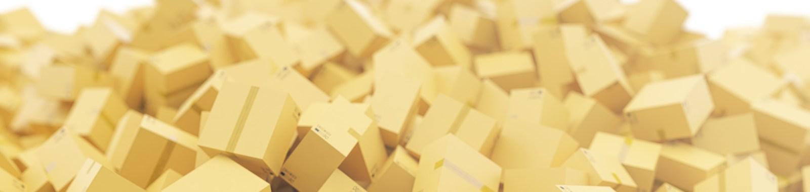 Stack of cardboard delivery boxes or parcels background, 3d rendering