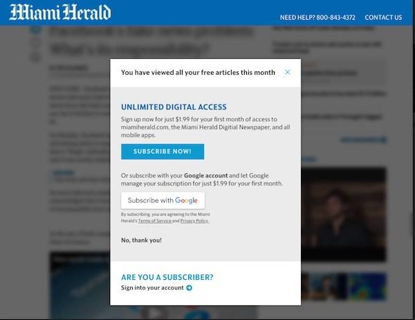 このように、サブスクリプションの申し込みページ(写真はマイアミ・ヘラルドのもの)にGoogleユーザーが遷移した際には、申し込みを誘導するメッセージが表示されるようになる