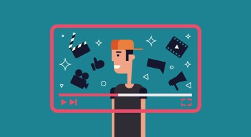 Flat illustration of successful video blogger. Boy with video frame and video theme icons - camera, clapper, film, like and other.