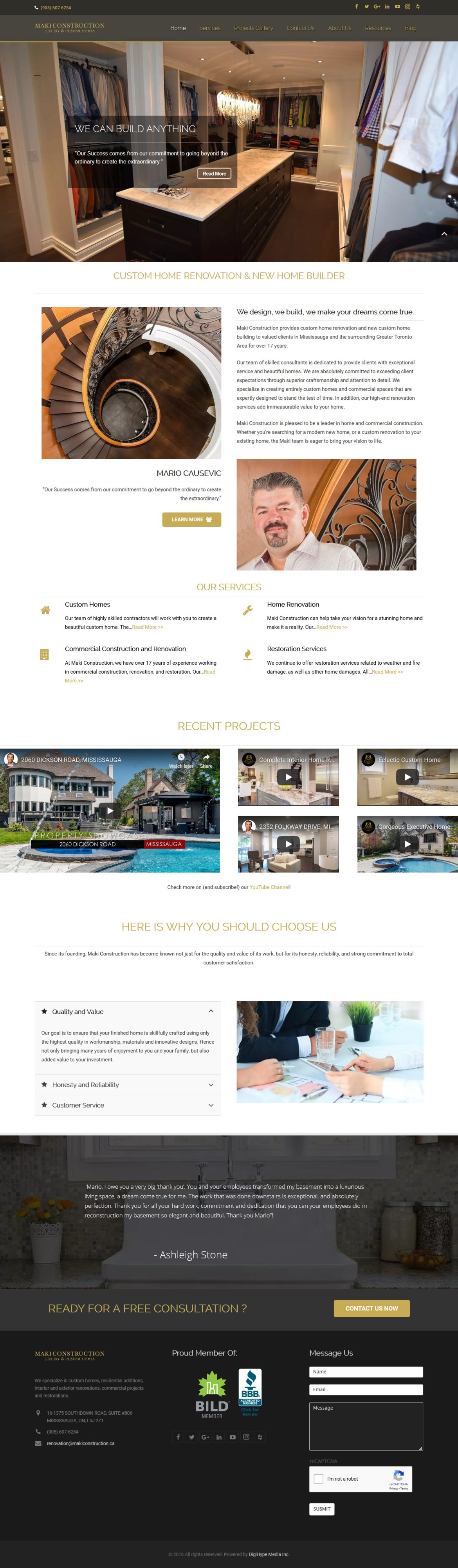 Home renovation and custom homes in Mississsauga (Website design Mockup)