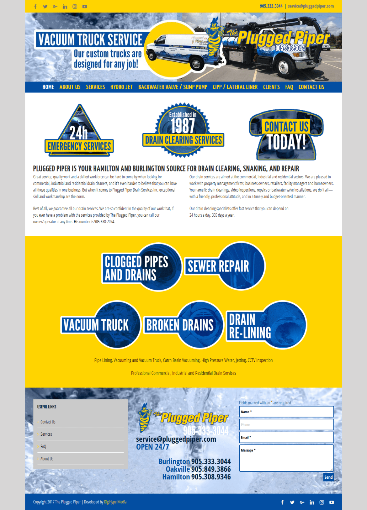 Plumbing and drainage in Burlington (website development mockup)