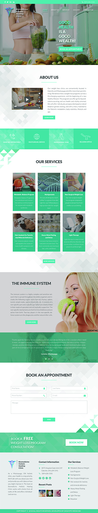 Nutrition, Wellness & Holistic health in Mississauga (website design mockup)