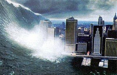 nel film Deep Impact cosi si immaginava l'impatto di un mostruoso Tsunami provocato da un impatto meteoricao contro New York