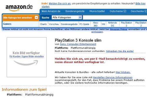 薄型PS3、独Amazonに登場。公式アナウンスはまだ