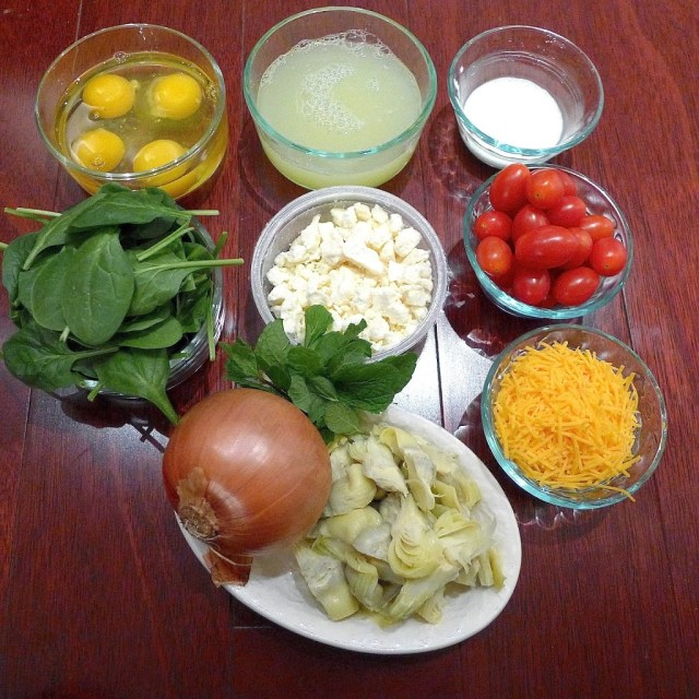 All you need to make greek Frittata