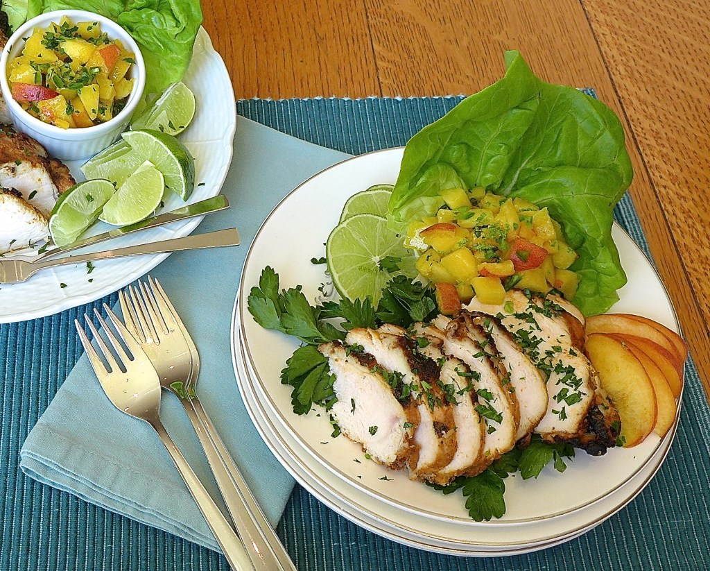 Lime Chicken with Peach Salsa