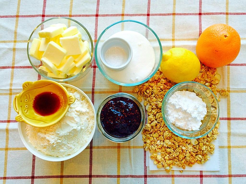 Ingredients for Raspberry Shortbread Bars