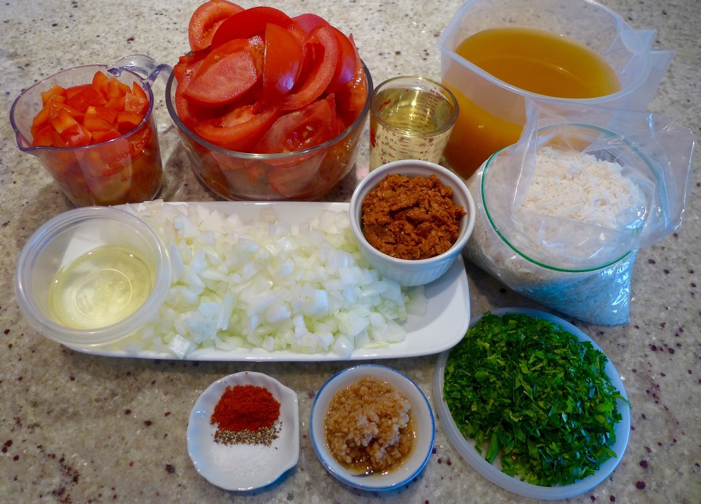 Measure and lay out your ingredients before making paella.