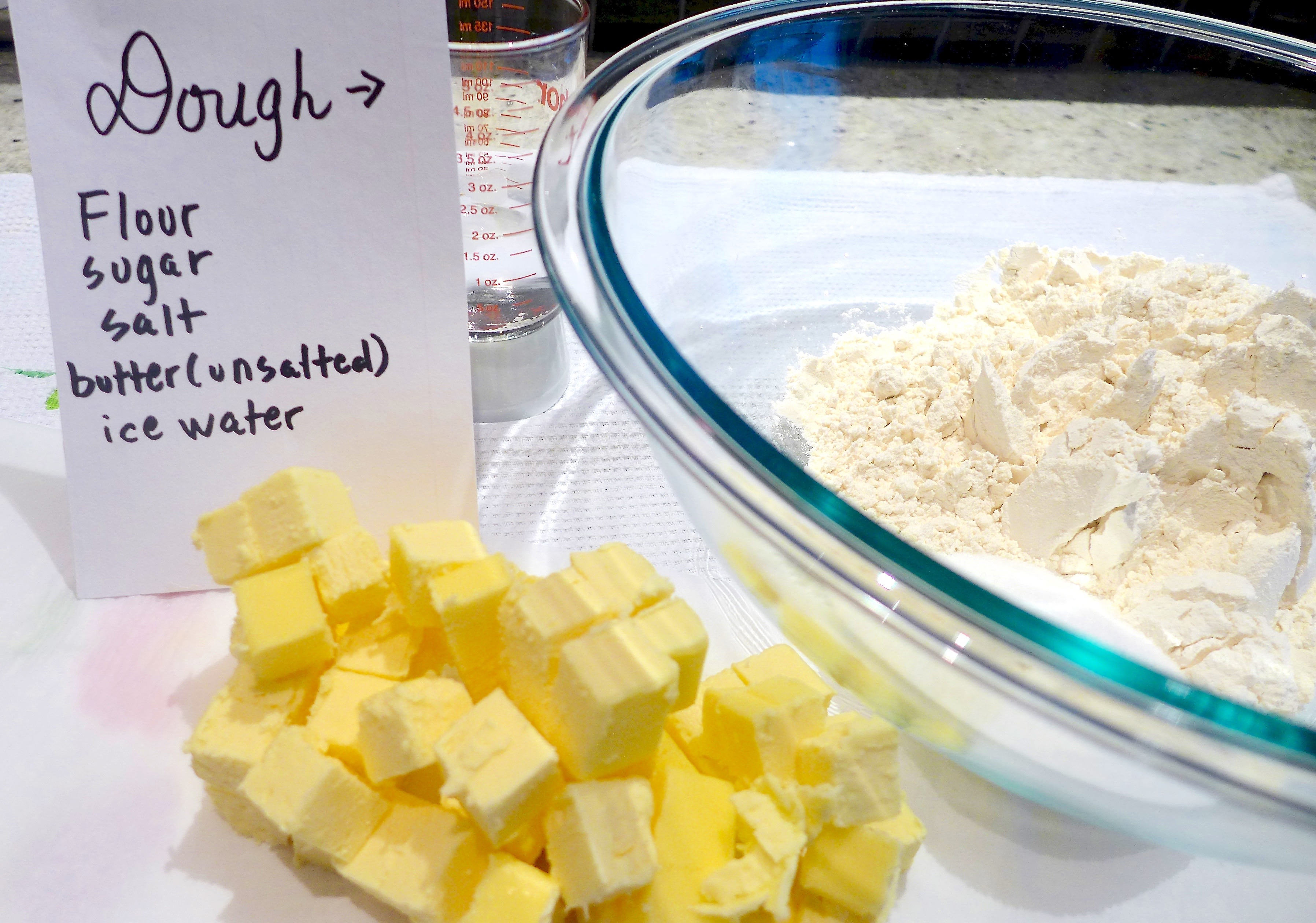 Cold diced butter is the key to a flaky crust and the (separate) cinnamon crumb topping.