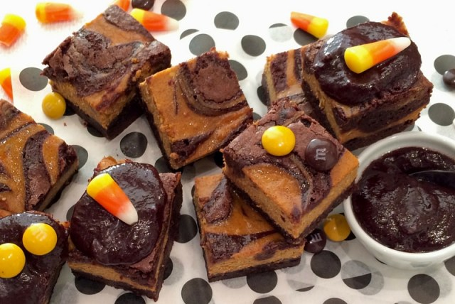 Pumpkin Swirl Brownies with Chocolate Frosting