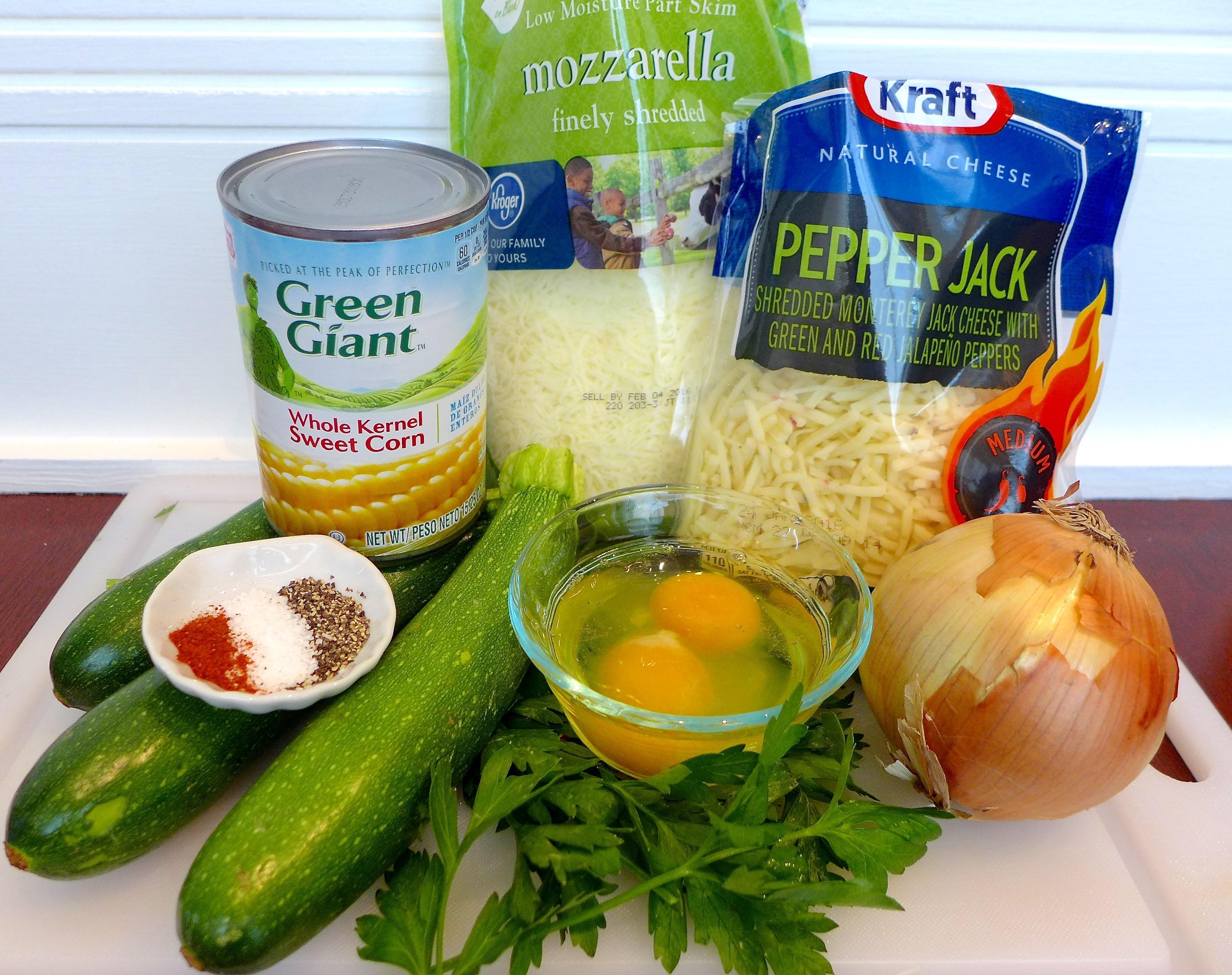 Ingredients for Savory Zuchinni Pie