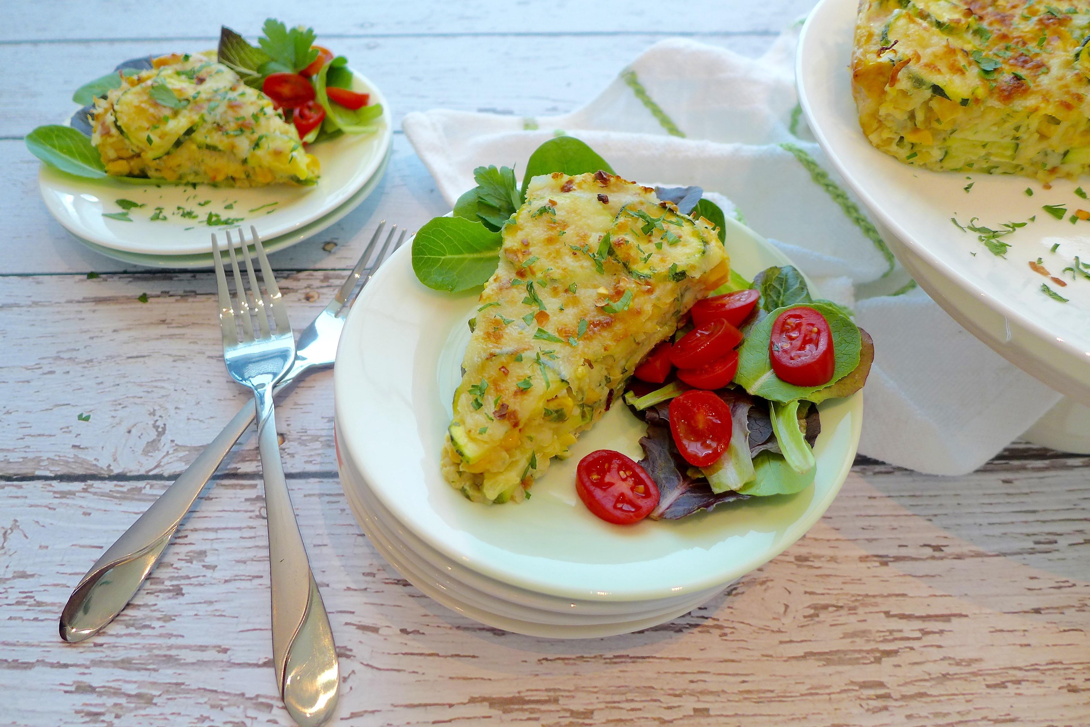 Savory Zuchinni Pie Slice with salad