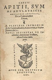 Cover of Ancient Cookbook, Apicius which includes a recipe for meatballs