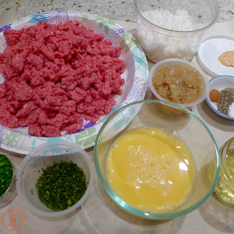 Mise en place- Get set up to assemble Greek meatballs
