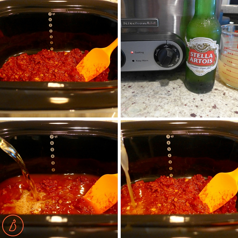 Add sauce and liquids to slow cooker.