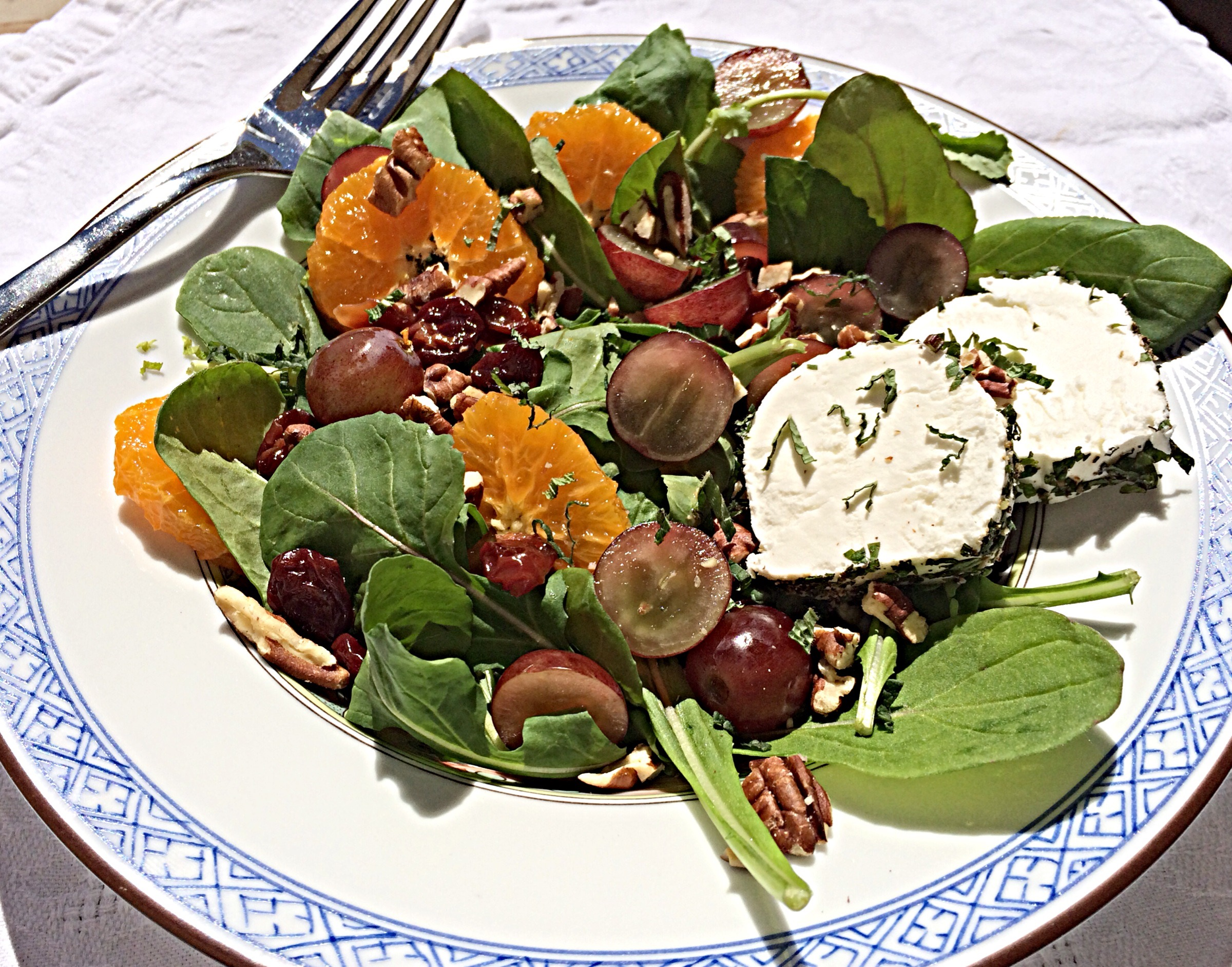 Oranges, dried cherries, chevre rolles in chopped mint and arugula make a great dairy based passover salad!