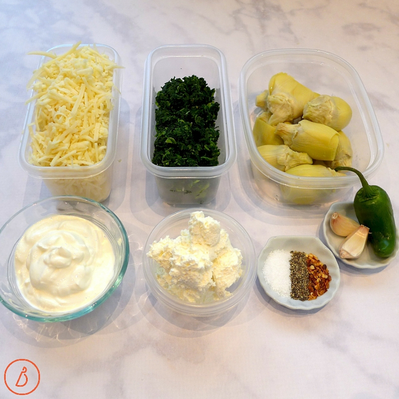 All you need to make Spicy Spinach and Artichoke Dip.