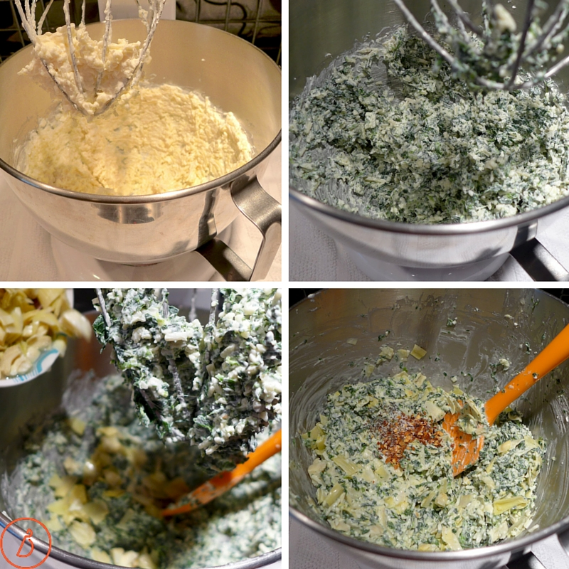 Mixing dip- first blend dairy, add spinach, then artichokes and spices.