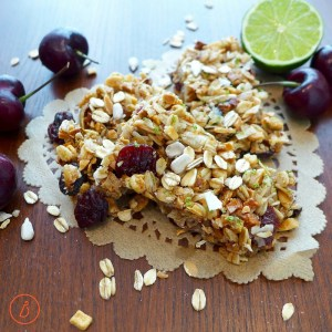 Crunchy, chewy, satisfying Cherry Lime Granola Bars sweetened with honey or agave on diginwithdana.com