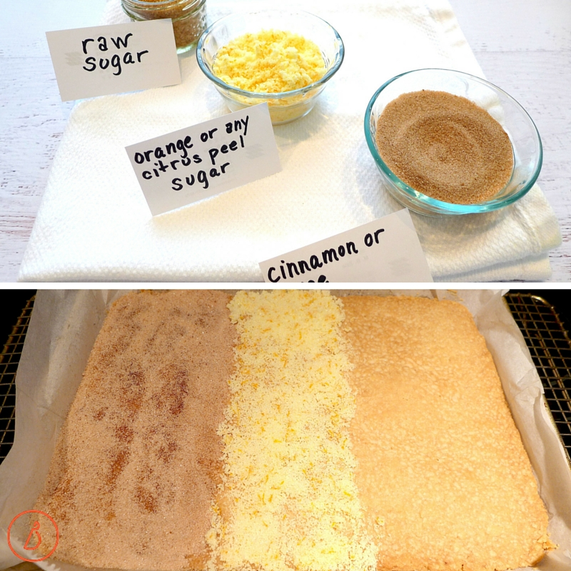 Experiment with different sugars. Leave a section plain in order to dip bars in chocolate after the second bake.