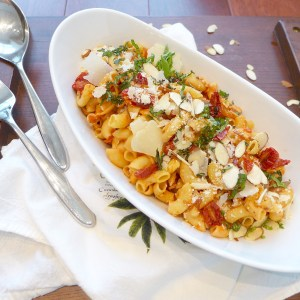 Slow roasted cherry tomato pasta with gluten free and vegan options.