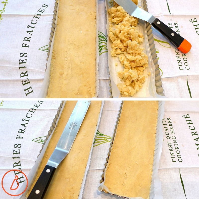 Pat shortbread dough into pan or pans of choice (9 x 13) and smooth with an offset spatula ( for spreading frosting) or back of a knife.