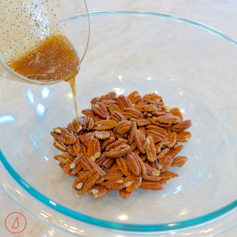 Add honey and spices to lightly toasted pecans. Sweet and spicy roasted pecans recipe at diginwithdana.com